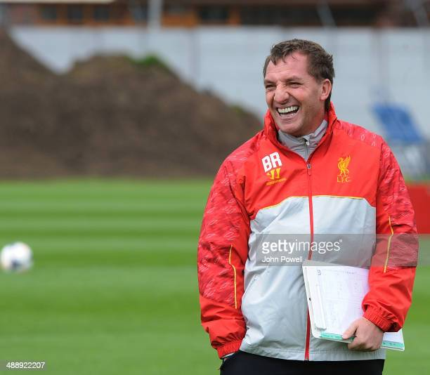 Brendan Rodgers manager of Liverpool in action during a training session at Melwood Training Ground on May 9 2014 in Liverpool England