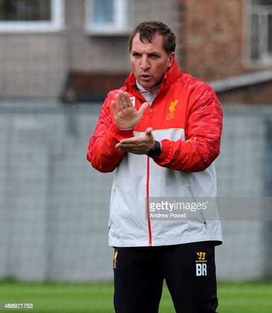 Brendan Rodgers manager of Liverpool issues instructions during a training session at Melwood Training Ground on May 9 2014 in Liverpool England