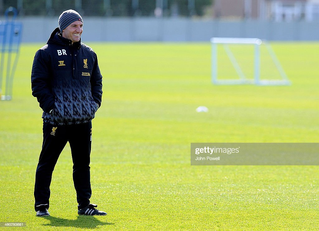 Brendan Rodgers manager of Liverpool looks on during a training session at Melwood Training Ground on March 24, 2014 in Liverpool, England.