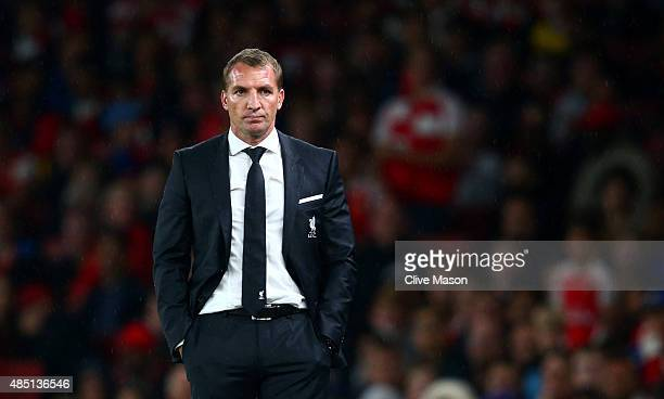 Brendan Rodgers manager of Liverpool looks on during the Barclays Premier League match between Arsenal and Liverpool at the Emirates Stadium on...