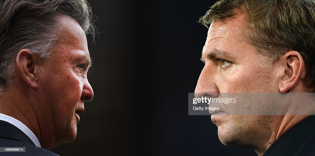 PHOTO - (Image numbers 454075476 (L) and 456472318) In this composite image a comparision has been made between Louis van Gaal (L) Manager of Manchester United and Brendan Rodgers, manager of Liverpool. Liverpool meet Manchester United in a Premier League match on March 22, 2015 at Anfield in Liverpool,England. BASEL, SWITZERLAND - OCTOBER 01: Brendan Rodgers, manager of Liverpool looks on during the UEFA Champions League Group B match between FC Basel 1893 and Liverpool FC at St. Jakob Stadium on October 1, 2014 in Basel, Switzerland.