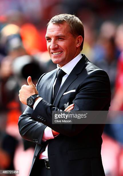 Brendan Rodgers manager of Liverpool looks on prior to the Barclays Premier League match between Liverpool and West Ham United at Anfield on August...