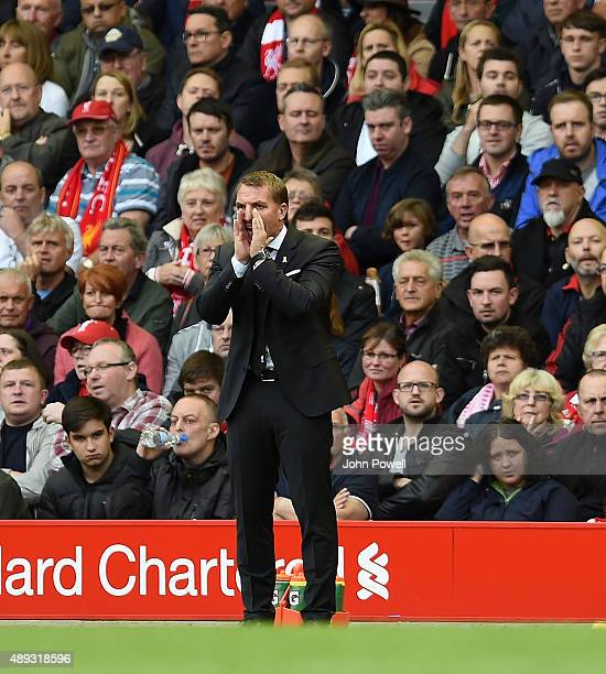 Brendan Rodgers manager of Liverpool reacts during the Barclays Premier League match between Liverpool and Norwich City on September 20 2015 in...