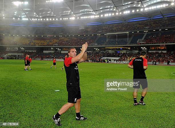 Brendan Rodgers manager of Liverpool shows his appreciation to the fans at the end the international friendly match between Malaysia XI and Liverpool...