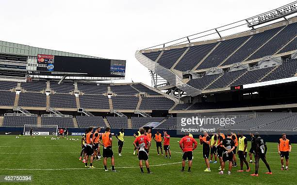 Brendan Rodgers manager of Liverpool talks with his team during a training session before the first game in the Guinness International Champions Cup...