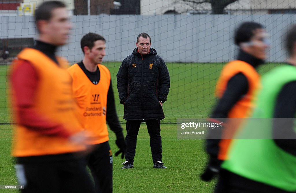 Brendan Rodgers manager of Liverpool watches his team during a training session at Melwood Training Ground on December 20, 2012 in Liverpool, England.