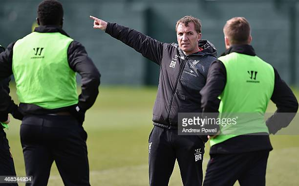 Brendan Rodgers manger of Liverpool during a training session at Melwood Training Ground on April 2 2015 in Liverpool England