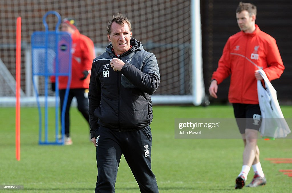 Brendan Rodgers of Liverpool during a training session at Melwood Training Ground on April 2, 2015 in Liverpool, England.