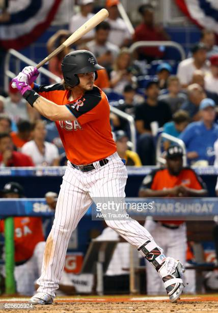 Brendan Rodgers of Team USA bats during the SirusXM AllStar Futures Game at Marlins Park on Sunday July 9 2017 in Miami Florida