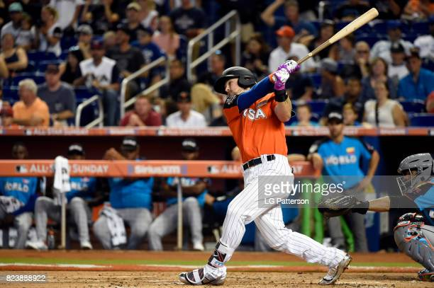 Brendan Rodgers of Team USA hits a sacrifice fly during the SirusXM AllStar Futures Game at Marlins Park on Sunday July 9 2017 in Miami Florida