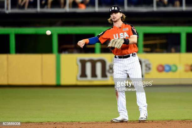 Brendan Rodgers of Team USA throws the ball around the infield during the SirusXM AllStar Futures Game at Marlins Park on Sunday July 9 2017 in Miami...