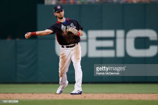 Brendan Rodgers of the Colorado Rockies and the U.S. Team makes a play during the SiriusXM All-Star Futures Game at Nationals Park on July 15, 2018...
