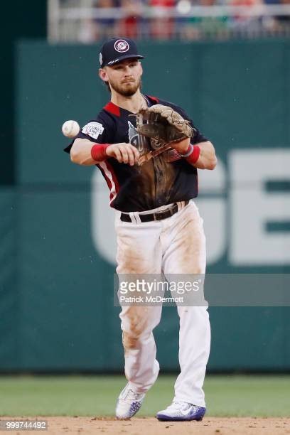 Brendan Rodgers of the Colorado Rockies and the U.S. Team makes a play in the ninth inning against the World Team during the SiriusXM All-Star...