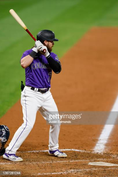 Brendan Rodgers of the Colorado Rockies bats during the eighth inning against the Houston Astros at Coors Field on August 19, 2020 in Denver,...