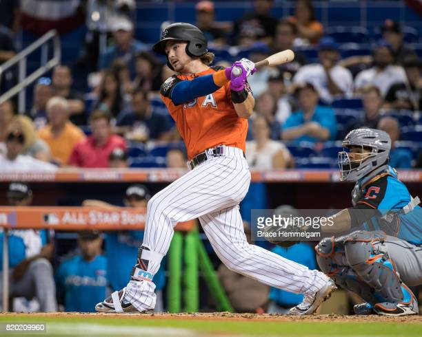 Brendan Rodgers of the Colorado Rockies bats during the SiriusXM All-Star Futures Game at Marlins Park on July 9, 2017 in Miami, Florida.