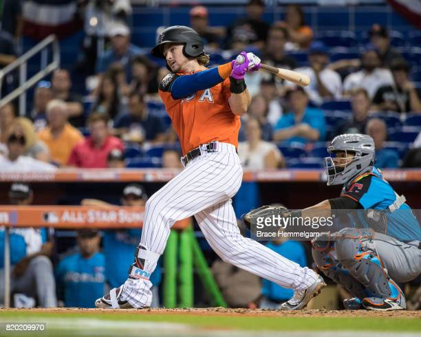 Brendan Rodgers of the Colorado Rockies bats during the SiriusXM AllStar Futures Game at Marlins Park on July 9 2017 in Miami Florida