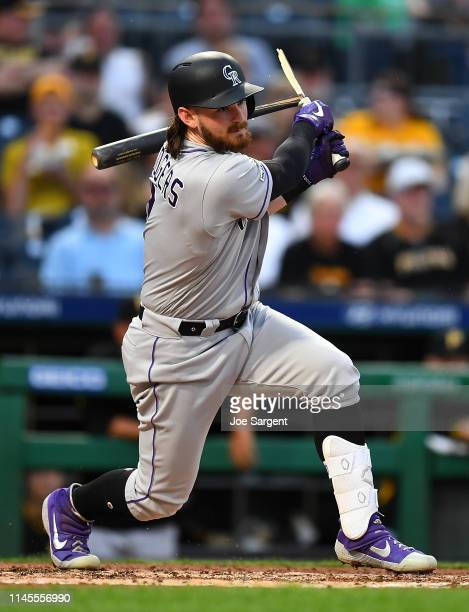 Brendan Rodgers of the Colorado Rockies breaks his bat during the third inning against the Pittsburgh Pirates at PNC Park on May 22 2019 in...
