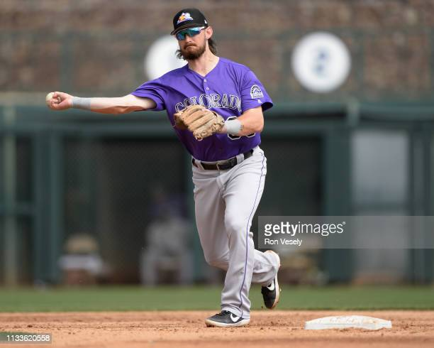 Brendan Rodgers of the Colorado Rockies fields against the Chicago White Sox on March 2, 2019 at Camelback Ranch in Glendale Arizona.