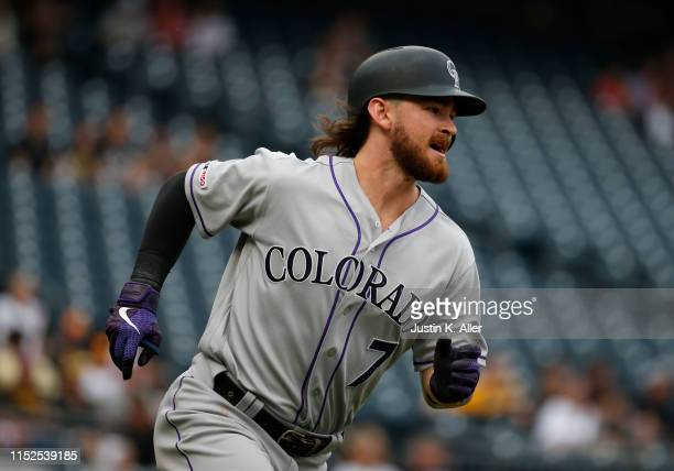 Brendan Rodgers of the Colorado Rockies in action against the Pittsburgh Pirates at PNC Park on May 23, 2019 in Pittsburgh, Pennsylvania.