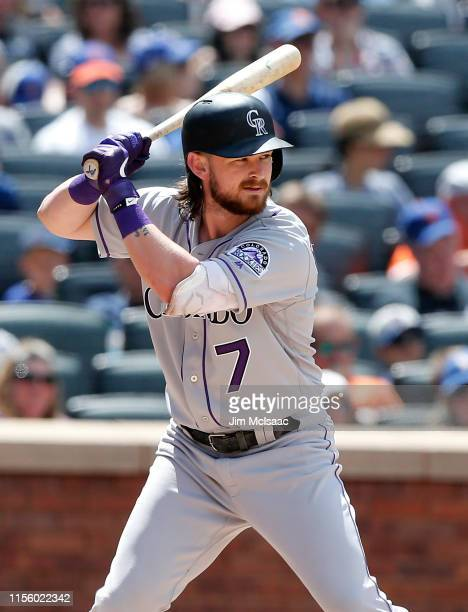 Brendan Rodgers of the Colorado Rockies in action against the New York Mets at Citi Field on June 09, 2019 in New York City. The Mets defeated the...