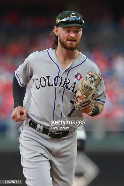 Brendan Rodgers of the Colorado Rockies in action during a game against the Philadelphia Phillies at Citizens Bank Park on May 18, 2019 in...