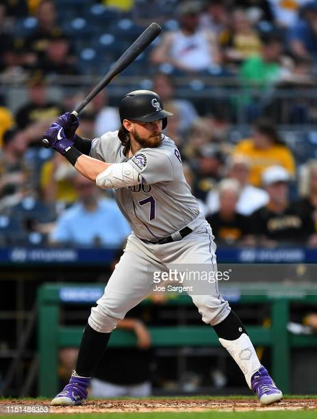 Brendan Rodgers of the Colorado Rockies in action during the game against the Pittsburgh Pirates at PNC Park on May 22, 2019 in Pittsburgh,...