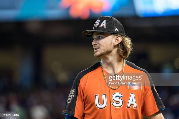 Brendan Rodgers of the Colorado Rockies looks on during the SiriusXM AllStar Futures Game at Marlins Park on July 9 2017 in Miami Florida