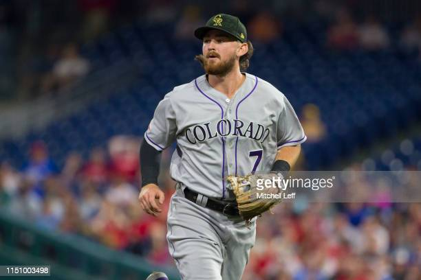 Brendan Rodgers of the Colorado Rockies runs to the dugout against the Philadelphia Phillies at Citizens Bank Park on May 17, 2019 in Philadelphia,...