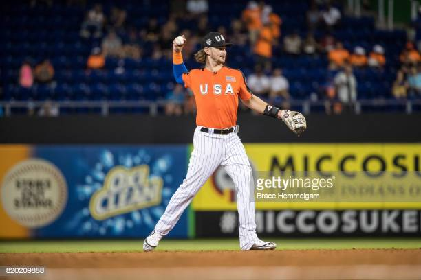 Brendan Rodgers of the Colorado Rockies throws during the SiriusXM AllStar Futures Game at Marlins Park on July 9 2017 in Miami Florida