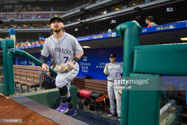 Brendan Rodgers of the Colorado Rockies walks onto the field prior to the game against the Philadelphia Phillies at Citizens Bank Park on May 17,...