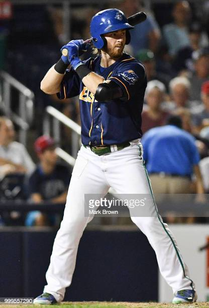 Brendan Rodgers of the Eastern Division All Stars in action during the 2018 Eastern League All Star Game at Arm & Hammer Park on July 11, 2018 in...