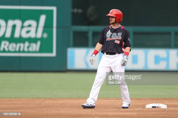 Brendan Rodgers on base during the SiriusXM All-Star Futures Game at Nationals Park on July 15, 2018 in Washington, DC.