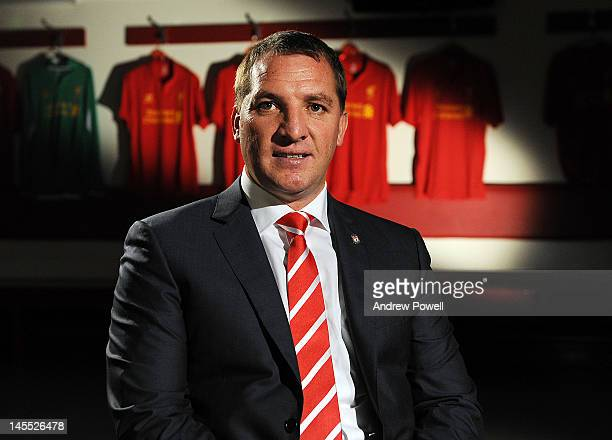 Brendan Rodgers poses for pictures on the day he is unveiled as the new manager of Liverpool FC at Anfield on June 1 2012 in Liverpool England