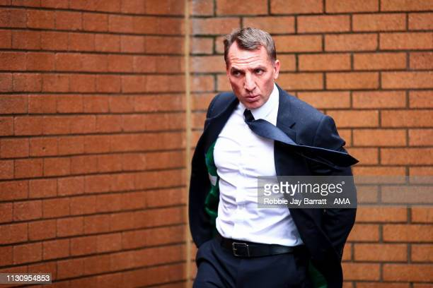 Brendan Rodgers the head coach / manager of Leicester City arrives prior to the Premier League match between Burnley FC and Leicester City at Turf...