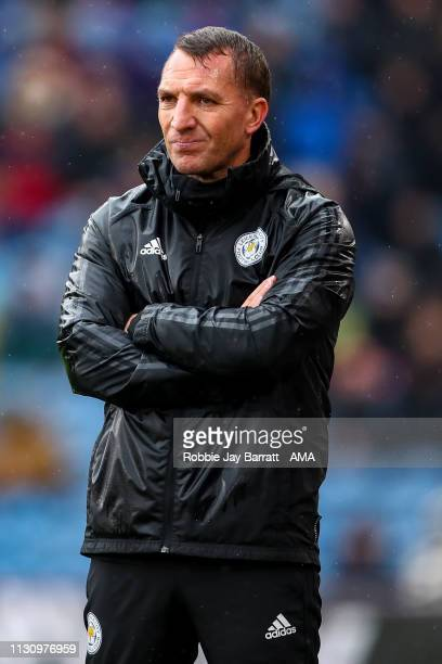 Brendan Rodgers the head coach / manager of Leicester City during the Premier League match between Burnley FC and Leicester City at Turf Moor on...