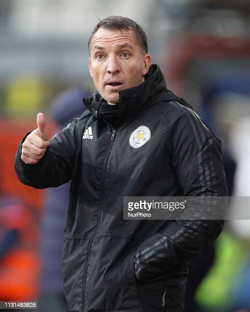 Brendan Rodgers the Leicester City manager during the Premier League match between Burnley and Leicester City at Turf Moor Burnley on Saturday 16th...
