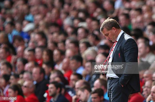 Brendan Rodgers the manager of Liverpool looks on during the Barclays Premier League match between Liverpool and Arsenal at Anfield on September 2,...