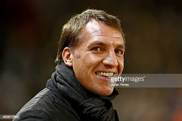 Brendan Rodgers the manager of Liverpool looks on during the UEFA Europa League Round of 32 match between Liverpool FC and Besiktas JK at Anfield on...