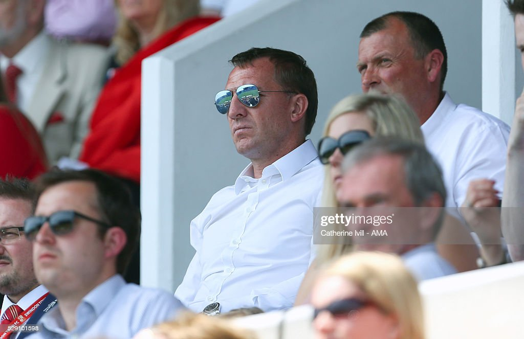 Brendan Rodgers watches his son Anton play for Swindon Town during the Sky Bet League One match between Swindon Town and Shrewsbury Town at County Ground on May 8, 2016 in Swindon, England.