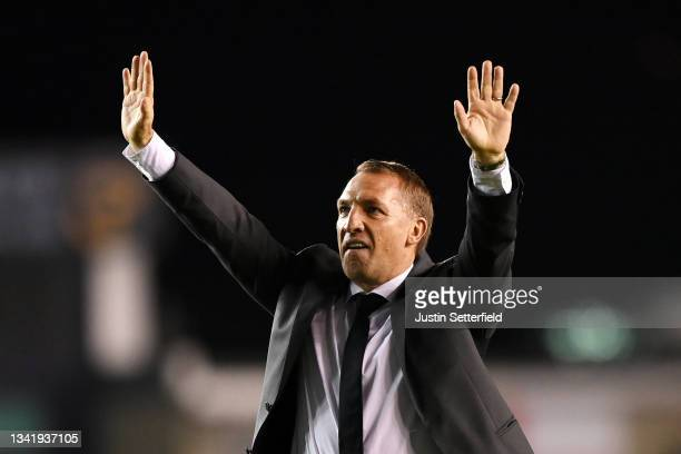 Brendan Rogers, Manager of Leicester City acknowledges the fans following victory in the Carabao Cup Third Round match between Millwall and Leicester...