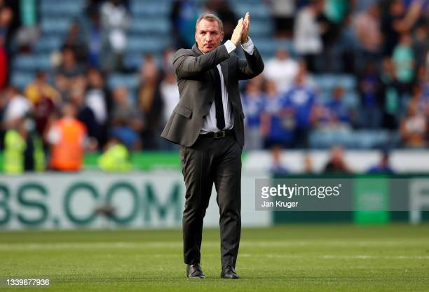 Brendan Rogers, Manager of Leicester City applauds the fans after the Premier League match between Leicester City and Manchester City at The King...