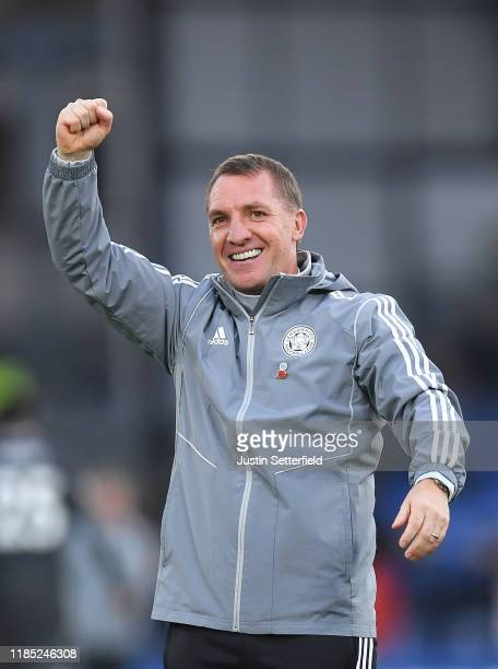 Brendan Rogers Manager of Leicester City celebrates at the final whistle during the Premier League match between Crystal Palace and Leicester City at...