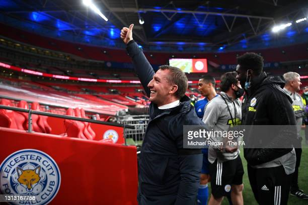 Brendan Rogers, Manager of Leicester City celebrates following the Semi Final of the Emirates FA Cup between Leicester City and Southampton FC at...