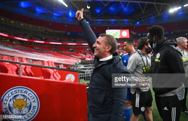 Brendan Rogers, Manager of Leicester City celebrates victory after the Semi Final of the Emirates FA Cup match between Leicester City and Southampton...