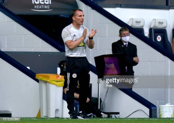 Brendan Rogers Manager of Leicester City gives his team instructions during the Premier League match between West Bromwich Albion and Leicester City...