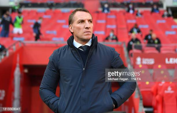 Brendan Rogers, Manager of Leicester City looks on during the Semi Final of the Emirates FA Cup match between Leicester City and Southampton FC at...