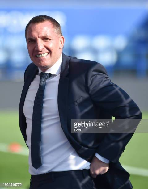 Brendan Rogers, Manager of Leicester City looks on prior to the Premier League match between Leicester City and Arsenal at The King Power Stadium on...