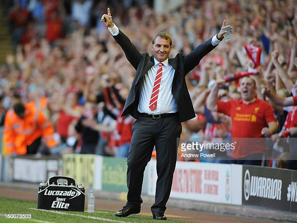 Brendan Rogers manager of Liverpool during the UEFA Europa League Third Round Qualifier between Liverpool and Gomel at Anfield on August 9 2012 in...