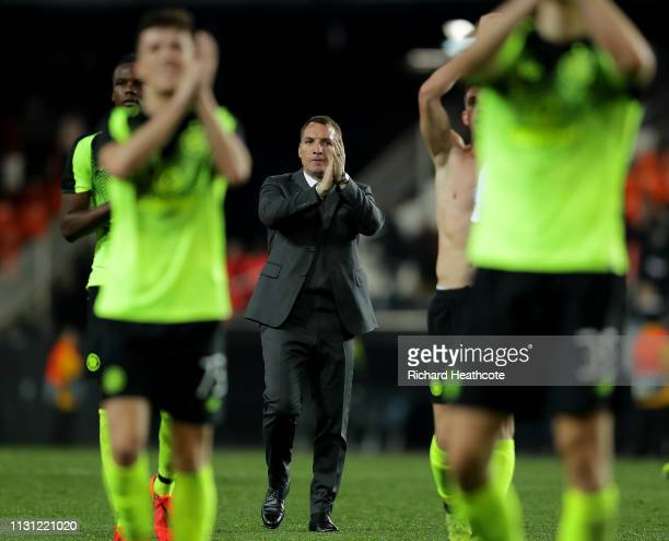 Brendan Rogers the Celtic manager after the UEFA Europa League Round of 32 Second Leg match between Valencia v Celtic at Estadio Mestalla on February...