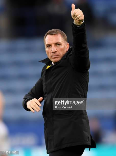 Brendan Rogers the manager of Leicester after the Premier League match between Leicester City and Fulham FC at The King Power Stadium on March 09...